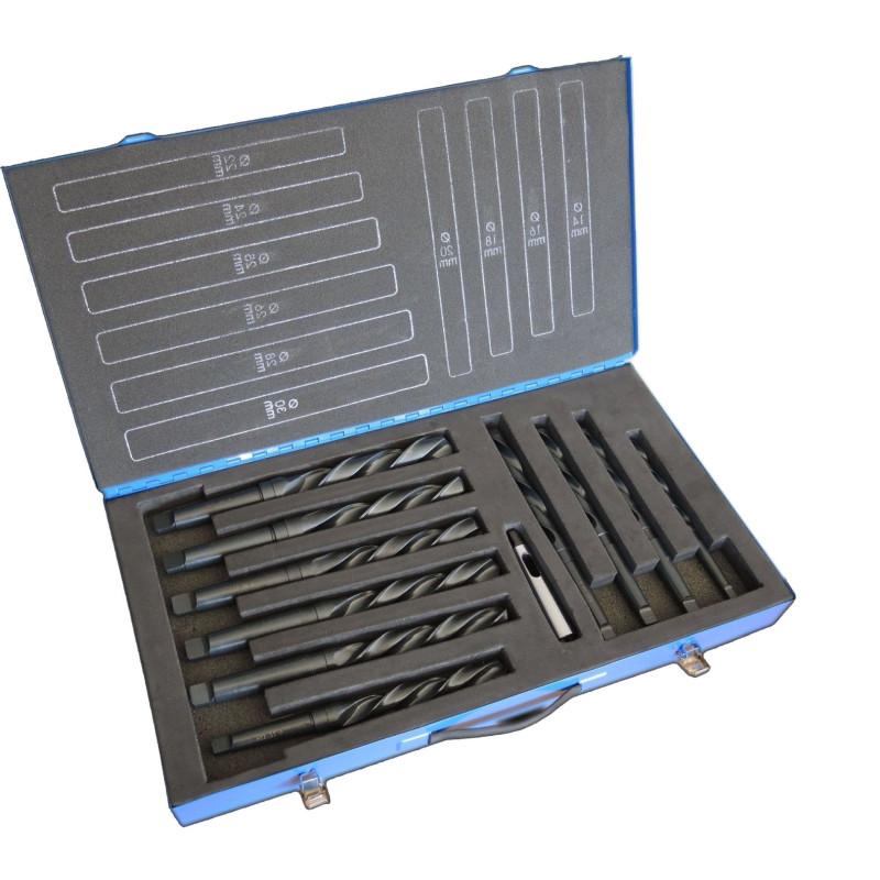 Wiertła do metalu NWKc / DIN 345 HSS A - komplet 14,0-23,0/1,0 mm + redukcja MK2/MK1